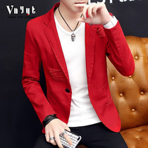 Mens Personality Night Small suit 2018 spring and autumn season handsome suit Korean version of casual top hole retro jacket