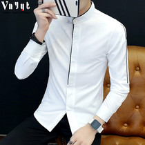 Mens personality long-sleeved shirt male Korean version of the collar collar casual spring shirt solid color slim hair stylist shirt