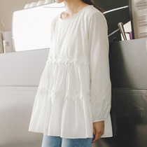 Maternity dress spring coat pregnant women shirt long section of the pregnancy loose white shirt spring and autumn doll shirt