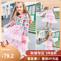 Girls skirt 2019 autumn new childrens Pompon yarn cake skirt Korean childrens mesh princess dress