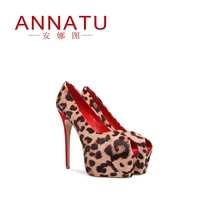 ANNATU2019 spring and summer new fetal hair BAO WEN waterproof platform with ultra high heels fish mouth shoes sandals women