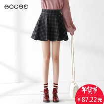 Plaid skirt Winter 2018 new pleated skirt Korean version of the thin A-word skirt autumn and winter umbrella skirt chic skirt girl