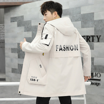 2019 new long coat male spring and autumn students tooling jacket Korean version of the trend of handsome mens wind clothing