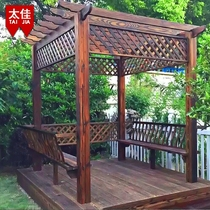 Taijia preservative wood grape rack outdoor carbonized wood flower stand simple corridor climbing rattan wooden porch frame courtyard Pavilion wooden house
