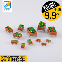 Building model material DIY indoor scene outdoor with view finished flower flower car model