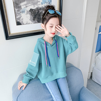 Girls autumn and winter sweater plus velvet 2019 new Korean version of the tide in the large childrens clothing little girl foreign gas thickening tops