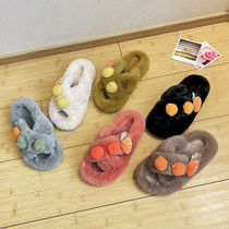 Thick-soled slippers in the tide 2020 autumn new cute hair ball little radish open-toed flat-bottomed hairy slippers.