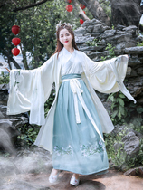 Du Ruo Han female costume Wei Jin wind cross collar waist skirt Chinese style super fairy elegant students daily autumn models