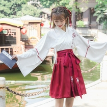 Chinese element waistbands skirt daily Han Dynasty student class dress antique improvement womens clothing antique China style summer and autumn set