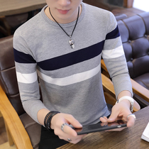 Spring and autumn mens thin sweater youth Korean slim striped shirt mens round neck pullover