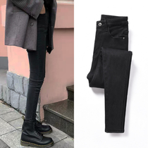Net red black jeans female high waist 2019 autumn new Korean version was thin nine pants tight feet pencil pants