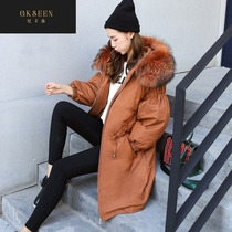 GKSEEN pregnant women down jacket winter coat loose Korean version of pregnancy medium-length female wool collar cotton clothing XJ1119
