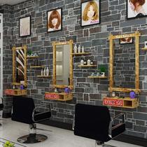Hairdressing mirror salon dedicated wall hanging retro mirror simple barber shop mirror cabinet one single wall hanging