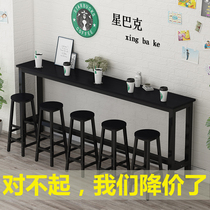 Iron Bar Table Home mini bar balcony restaurant by wall narrow table milk tea shop slender tablecloth goes well high table