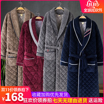Mens robe male Winter thickening long section adult coral velvet winter mens bathrobe pajamas one-piece Fall Winter section