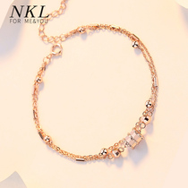 Little pretty waist bracelet female sterling silver rose gold Korean version of the personality tide ins net red niche design 18k color gold transfer beads