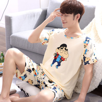 Pajamas male summer cotton short-sleeved thin section cartoon teenage students mens home service suits summer XL