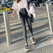 High waist slim was thin wild jeans female 2019 autumn new elegant tight nine feet pants spring and autumn