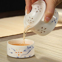Exquisite hollow ceramic quick cup travel convenient tea set blue and white porcelain tea maker teapot hand grasping pot