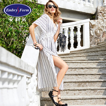 Embry lady lace V-neck short-sleeved striped long beach dress loose beach dress EH0940