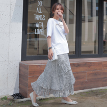 Pregnant women skirt spring and summer long section of the Wave Point 2019 Spring Fashion chiffon care belly summer tide mother skirt fairy