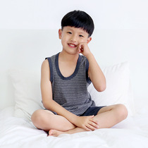 Japanese Tianzhu cotton childrens vest cotton summer thin section round neck sleeveless stripes 2019 boys home vest