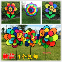 Kindergarten outdoor decorative windmill string flowers dynamic camping six color childrens toys Christmas bunting Windmill Festival