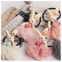 Leather headband childrens hair elastic band bunny rabbit hair ring girl Korean cute hair rope