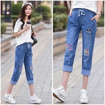 New summer Big children loose casual straight jeans denim pants girls thin pants Junior High School students pants