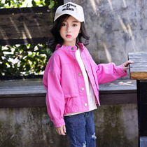 Girls jacket spring and autumn cowboy short section 2019 new large childrens style Korean casual baseball clothing childrens jacket