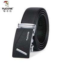 Woodpecker mens belt first layer of leather youth casual automatic buckle belt genuine male leather business pants tide