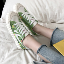 Sen Department of avocado canvas shoes 2019 spring and summer new green tea green female students Korean version of the wild ulzzang shoes