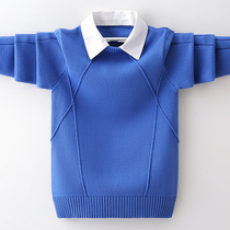 Boys sweater pullover autumn and winter fake two shirts collar children cotton childrens sweater plus velvet thick tide
