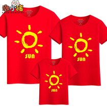Parent-child loaded summer new tide family loaded a three-necked mother and daughter loaded cotton casual short-sleeved T-shirt summer