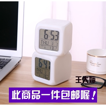 Birthday gift children colorful color electronic clock time temperature calendar alarm clock bedside bedroom decompression Bell