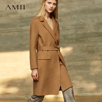 Amii minimalist department 100% wool double-sided coat female French Winter new self-cultivation in the long paragraph woolen jacket