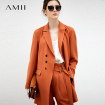 Amii minimalist commuter Hong Kong taste chic Professional suit female spring 2019 New loose lapel wild suit two-piece suit