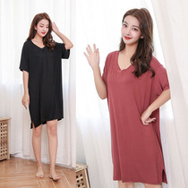 New pajamas summer Korean version of the loose modal nightdress female short-sleeved thin section V-neck fat fat mm200 kg