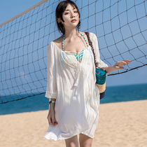 3035e753c4afd Seaside holiday beach coat clothes bikini blouse white sun protection  clothing women's long travel swimsuit ride