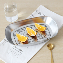 Creative European iron fruit tray retro stainless steel iron plate living room tableware snack tray snack dried fruit plate