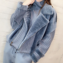 New European Station side zipper sleeve knit fur one