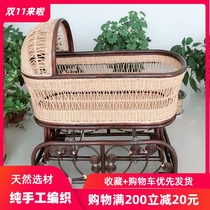 Baby cradle bed baby rattan bed small crib baby cradle childrens bed removable pure hand-woven special