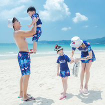 2019 new three-parent-child swimsuit mother and daughter family loaded couple Beach suit split was thin childrens models