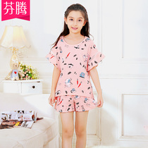 Fen Teng summer new large children pajamas girl Princess Cotton Cotton cute short-sleeved shorts home service suits