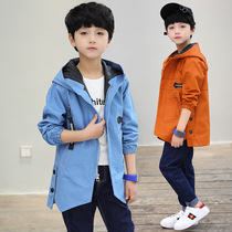 Childrens clothing 7 boys windbreaker 8 childrens jacket long section with a hat 9-11 years old children without velvet gown spring 2019