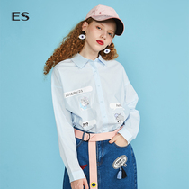 Egger ES spring and autumn female printing loose long-sleeved shirt 8e031413347