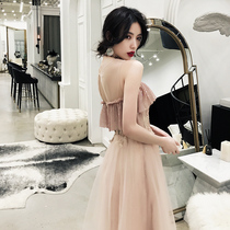 Fairy Department of small evening dress female 2019 new princess dream bridesmaid dress fairy quality simple and elegant dress spring