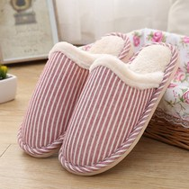 Autumn and winter indoor home slippers men and women household wood floor light flax cotton slippers foam bottom guest slippers