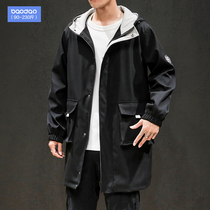 Tide fat spring and autumn Korean trend coat loose plus fat plus size mens windbreaker long hooded jacket