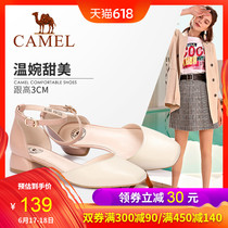 Camel shoes 2019 Spring New Baotou word with Fairy Wind shoes female shallow mouth thick with spring models single shoes female